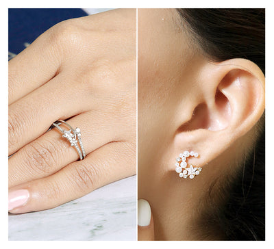 Sterling Silver Ring & Stud Earring