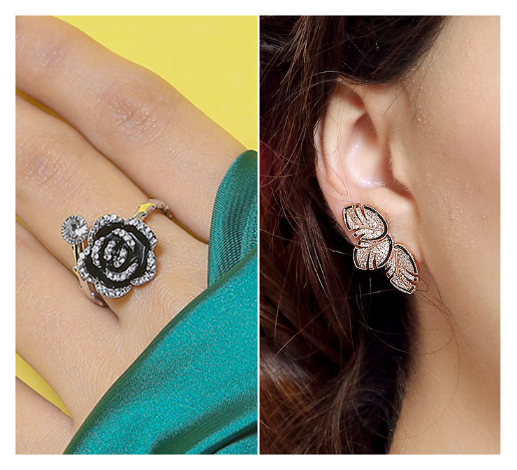 Floral Ring & Stud Earring