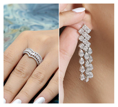 Pave Ring & Drop Earring