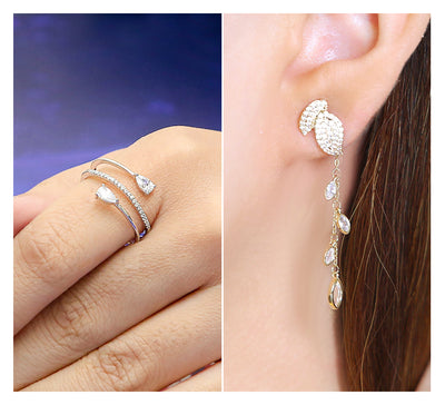 Adjustable Pave Ring & Golden Drop Earring