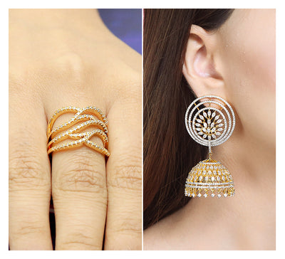 Adjustable Pave Ring & Drop Earring