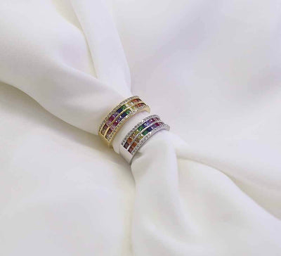 Buy Women Multicolour Pave Rings Online In Pakistan