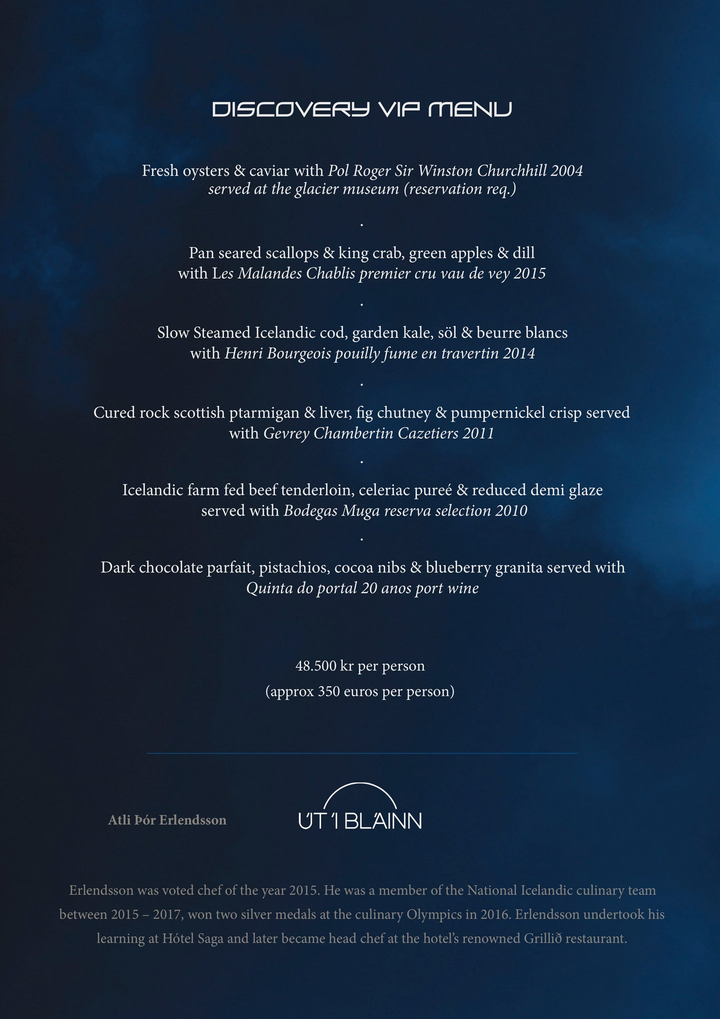 An Icelandic discovery menu served for VIP's at Perlan
