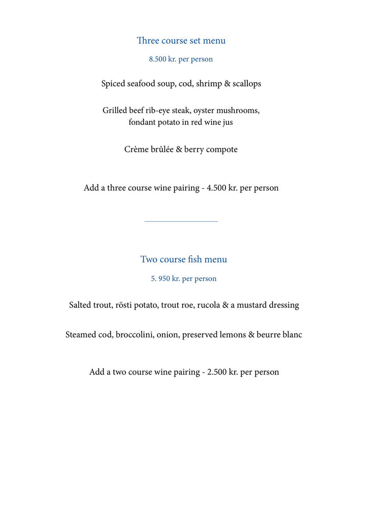 New three course set menu at perlan restaurant