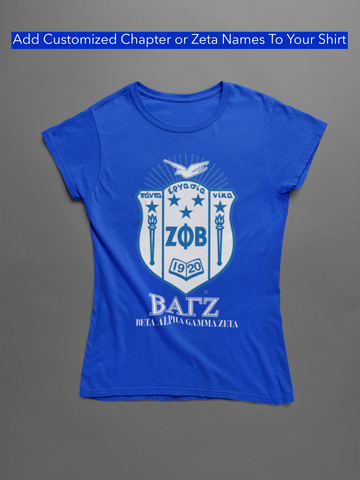 Chapter shirt blue with words on Customization
