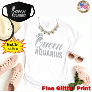 QUEEN AQUARIUS SILVER GLITTER T-SHIRT AND FACE MASK SET - Gray's Active Wear Printing