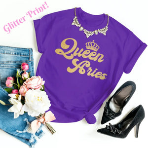 QUEEN ARIES GOLD GLITTER T-SHIRT - Gray's Active Wear Printing