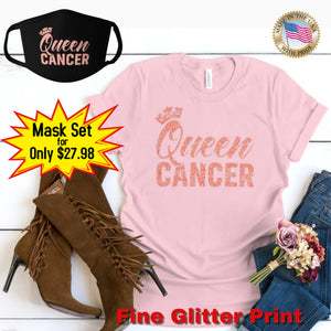 QUEEN CANCER CORAL PINK GLITTER T-SHIRT AND FACE MASK SET - Gray's Active Wear Printing