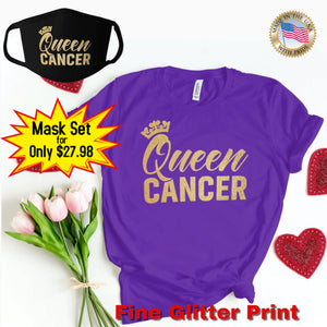 QUEEN CANCER GOLD GLITTER T-SHIRT AND FACE MASK SET - Gray's Active Wear Printing