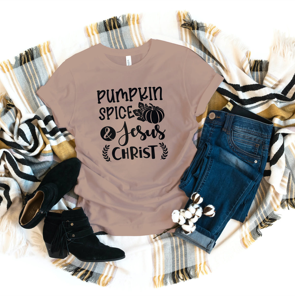 PUMPKIN SPICE AND JESUS CHRIST T-SHIRT - Gray's Active Wear Printing
