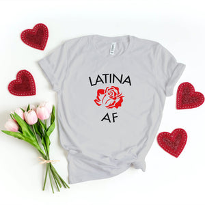 LATINA AF WITH FLOWER TSHIRT - Gray's Active Wear Printing