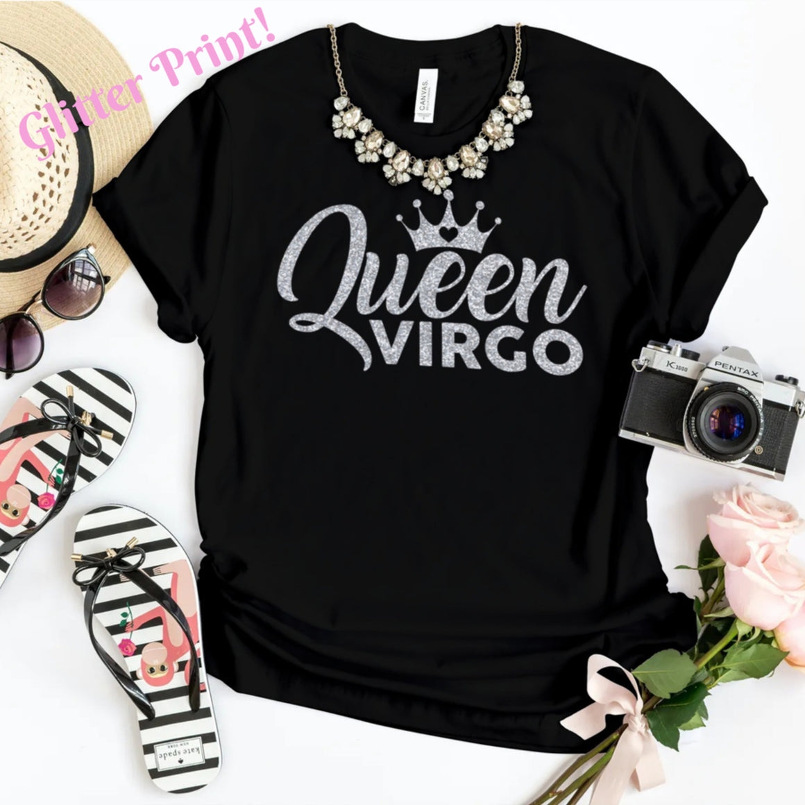 QUEEN VIRGO SILVER GLITTER T-SHIRT - Gray's Active Wear Printing
