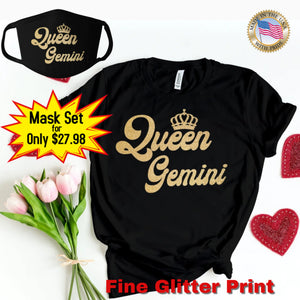 QUEEN GEMINI GOLD GLITTER T-SHIRT AND FACE MASK SET - Gray's Active Wear Printing