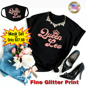 QUEEN LEO CORAL PINK GLITTER T-SHIRT AND FACE MASK SET - Gray's Active Wear Printing