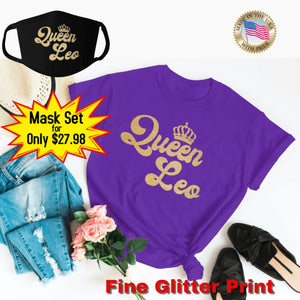 QUEEN LEO GOLD GLITTER T-SHIRT AND FACE MASK SET - Gray's Active Wear Printing