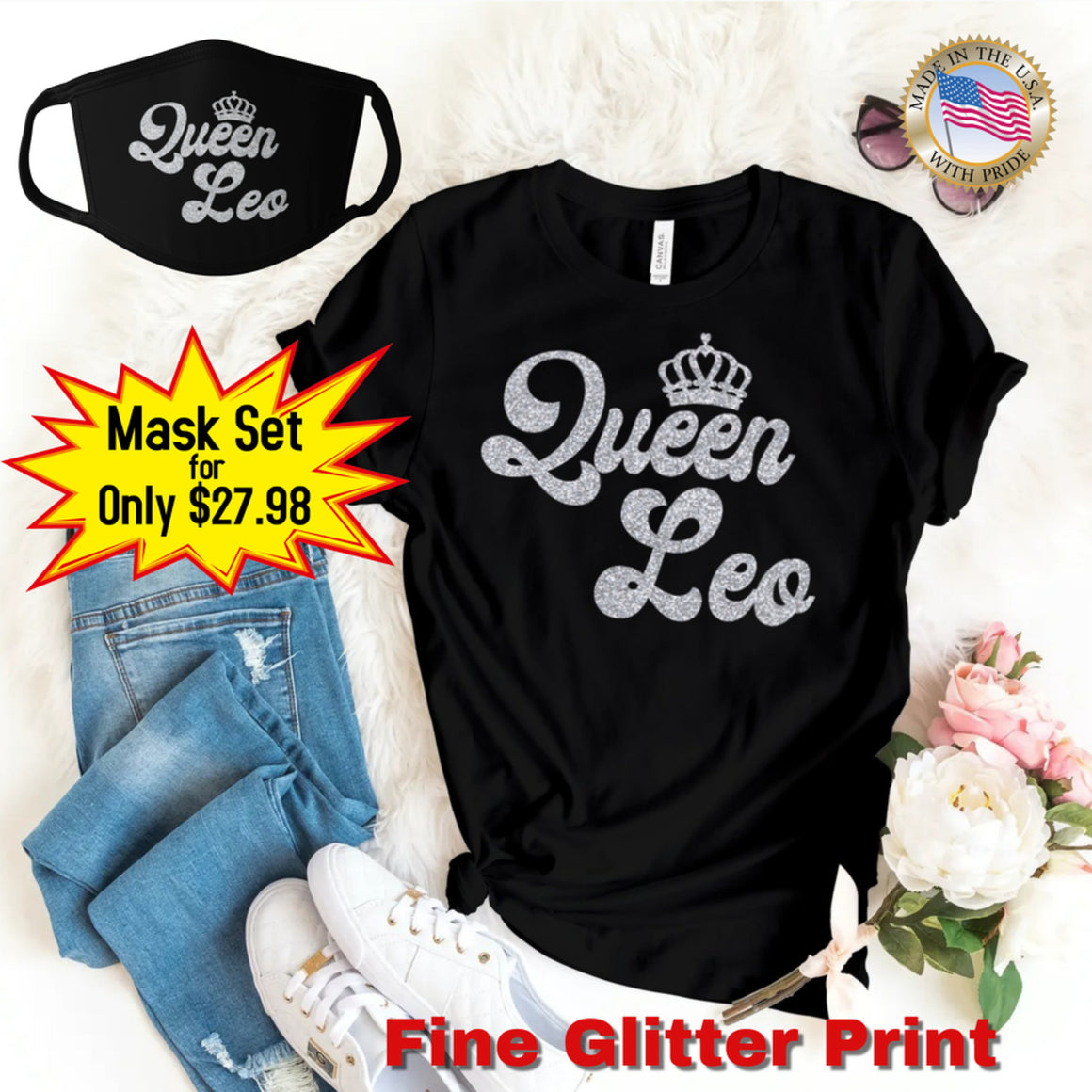 QUEEN LEO SILVER GLITTER T-SHIRT AND FACE MASK SET - Gray's Active Wear Printing