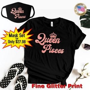 QUEEN PISCES CORAL PINK GLITTER T-SHIRT AND FACE MASK SET - Gray's Active Wear Printing