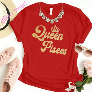 QUEEN PISCES GOLD GLITTER T-SHIRT - Gray's Active Wear Printing
