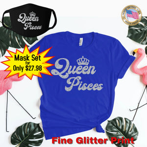 QUEEN PISCES SILVER GLITTER T-SHIRT AND FACE MASK SET - Gray's Active Wear Printing