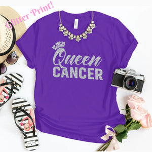 QUEEN CANCER SILVER GLITTER T-SHIRT - Gray's Active Wear Printing