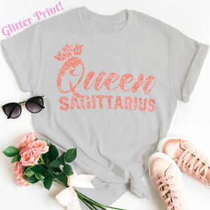 QUEEN SAGITTARIUS CORAL PINK GLITTER T-SHIRT - Gray's Active Wear Printing