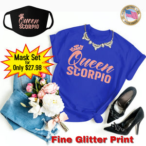 QUEEN SCORPIO CORAL PINK GLITTER T-SHIRT AND FACE MASK SET - Gray's Active Wear Printing