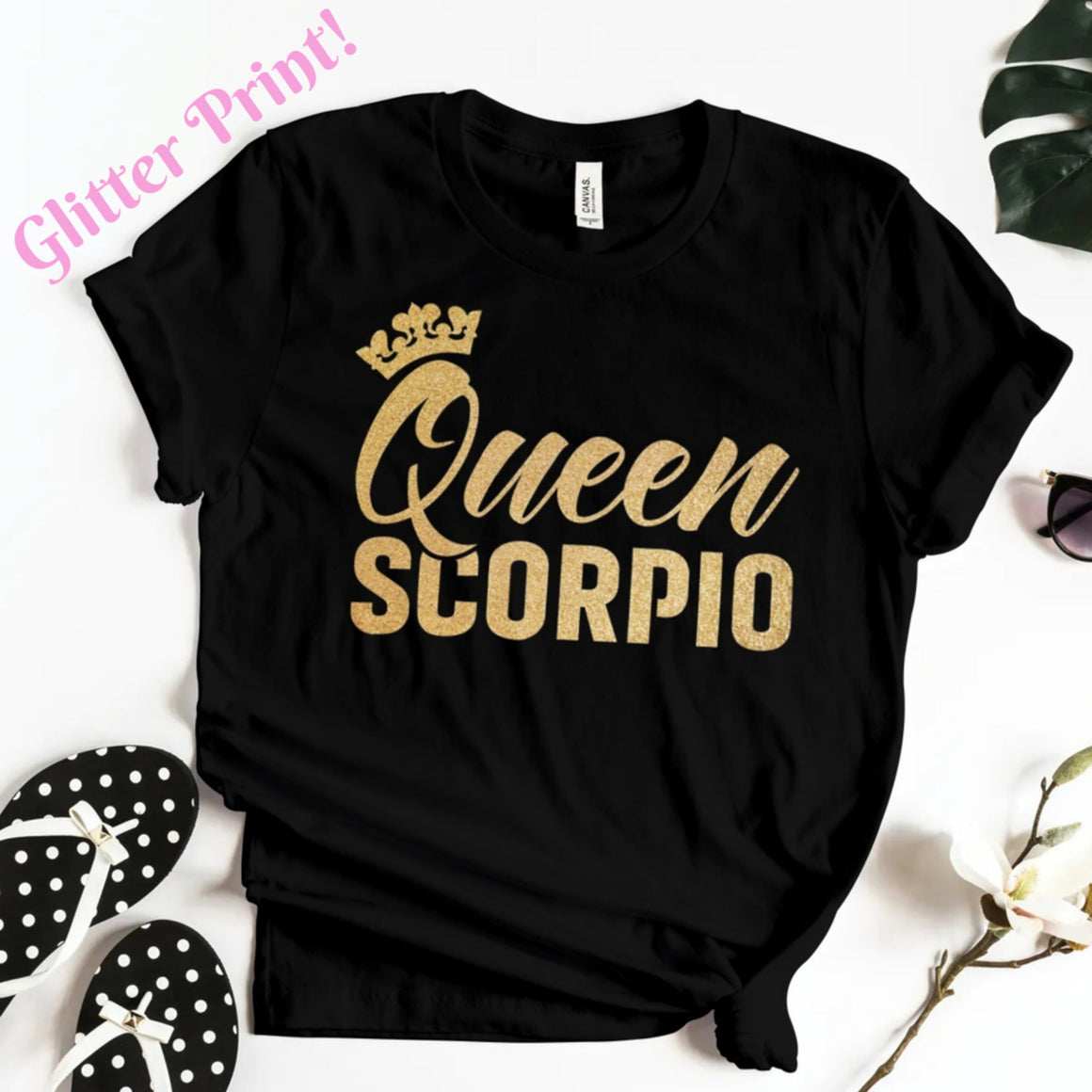QUEEN SCORPIO GOLD GLITTER T-SHIRT - Gray's Active Wear Printing