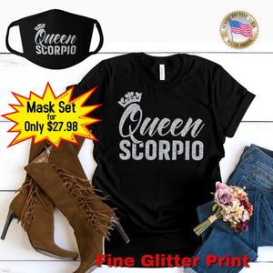 QUEEN SCORPIO SILVER GLITTER T-SHIRT AND FACE MASK SET - Gray's Active Wear Printing