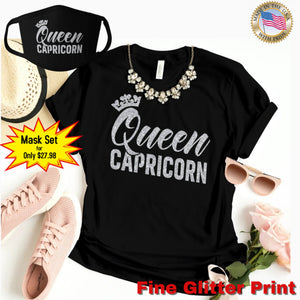 QUEEN CAPRICORN SILVER GLITTER T-SHIRT AND FACE MASK SET - Gray's Active Wear Printing