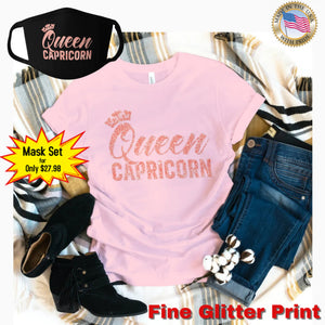 QUEEN CAPRICORN CORAL PINK GLITTER T-SHIRT AND FACE MASK SET - Gray's Active Wear Printing