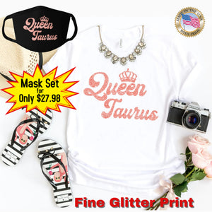 QUEEN TAURUS CORAL PINK GLITTER T-SHIRT AND FACE MASK SET - Gray's Active Wear Printing