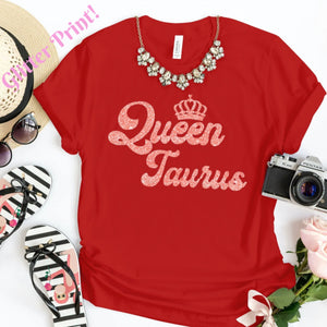 QUEEN TAURUS CORAL PINK GLITTER T-SHIRT - Gray's Active Wear Printing