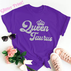QUEEN TAURUS SILVER GLITTER T-SHIRT - Gray's Active Wear Printing