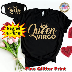 QUEEN VIRGO GOLD GLITTER T-SHIRT AND FACE MASK SET - Gray's Active Wear Printing