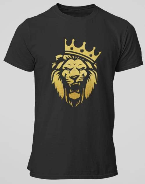 METALLIC GOLD KING LION SHIRT! FINE SOFT PRINT! - Gray's Active Wear Printing