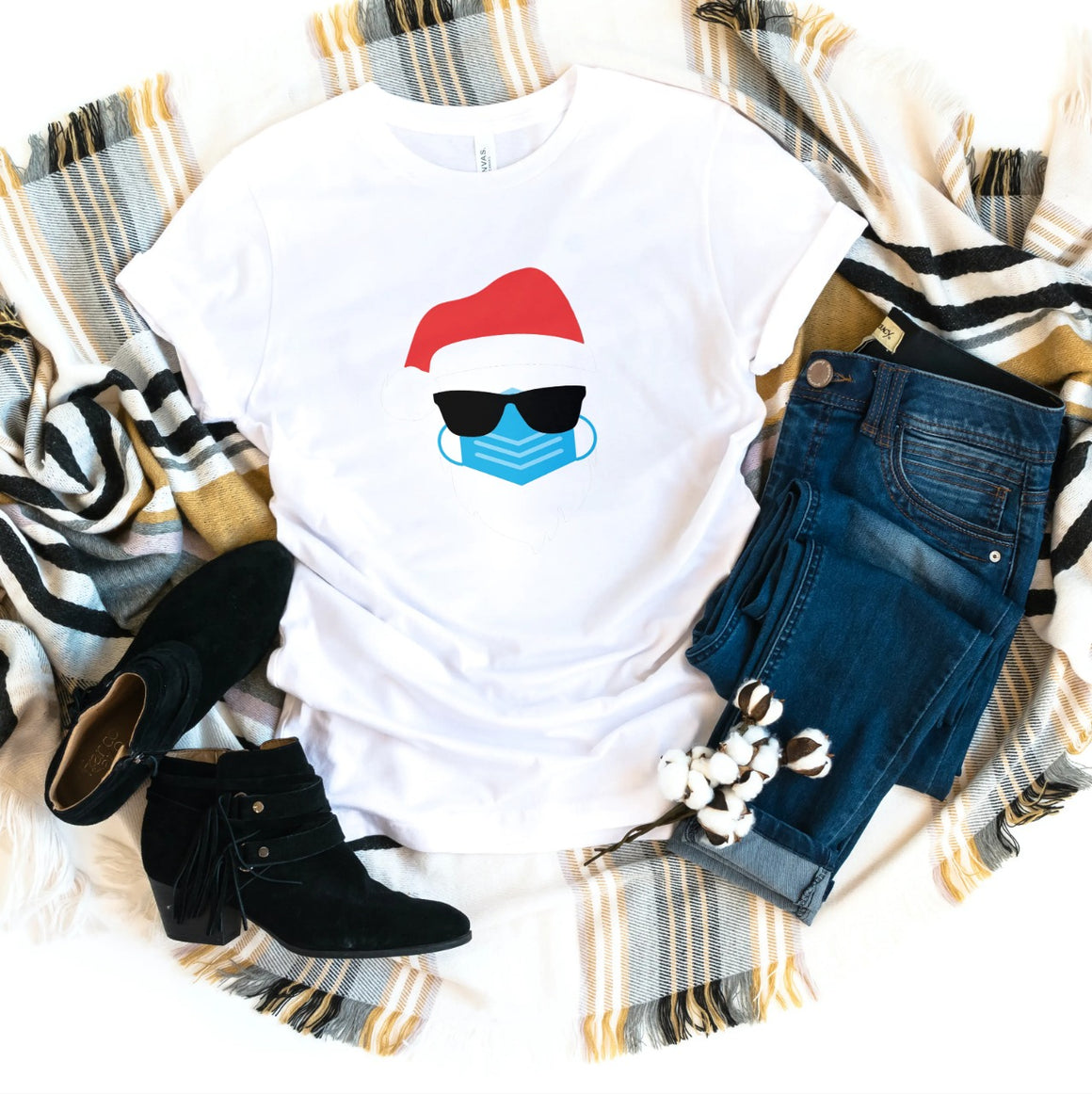 SANTA CLAUS IN SUNGLASSES WEARING A FACE MASK T-SHIRT - Gray's Active Wear Printing