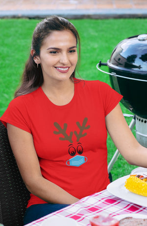 CUTE REINDEER WEARING A BLUE FACE MASK T-SHIRT - Gray's Active Wear Printing