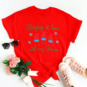 STAYING AT HOME WITH GNOMIES CHRISTMAS T-SHIRT - Gray's Active Wear Printing