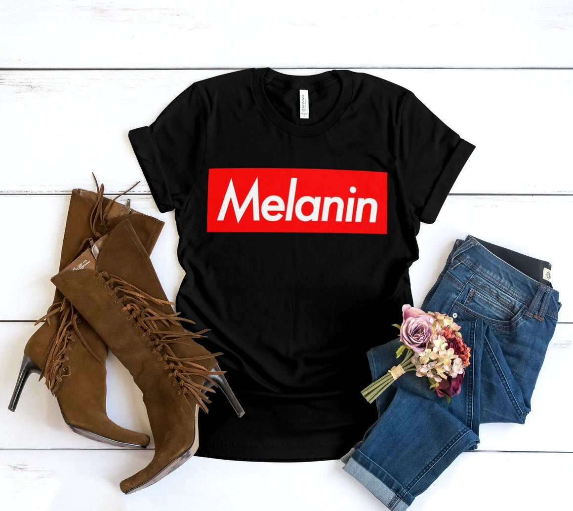 MELANIN BOX LOGO TSHIRT - Gray's Active Wear Printing