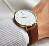 ZENN Classique Gold Watch Brown Strap