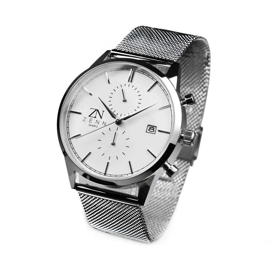 ZENN Stealth Silver White Dial Watch