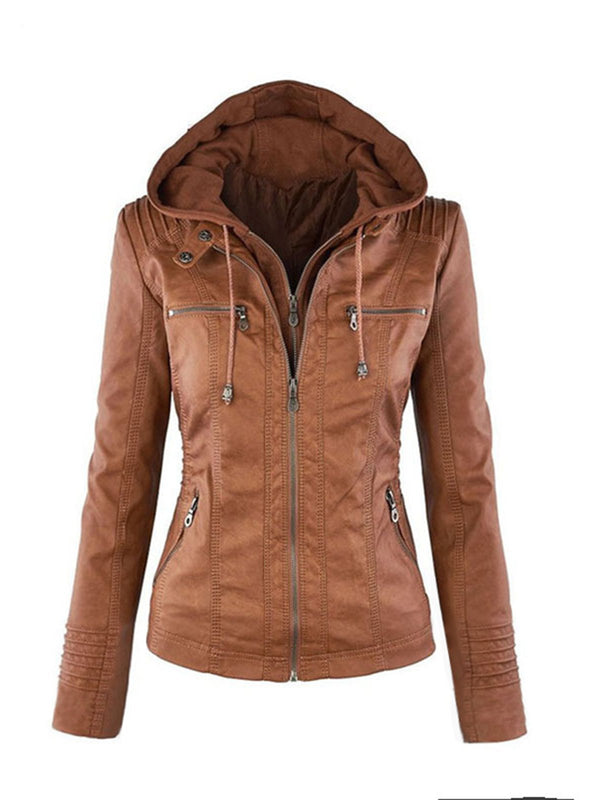 Casual Solid Faux Leather Pockets Bomber Jacket