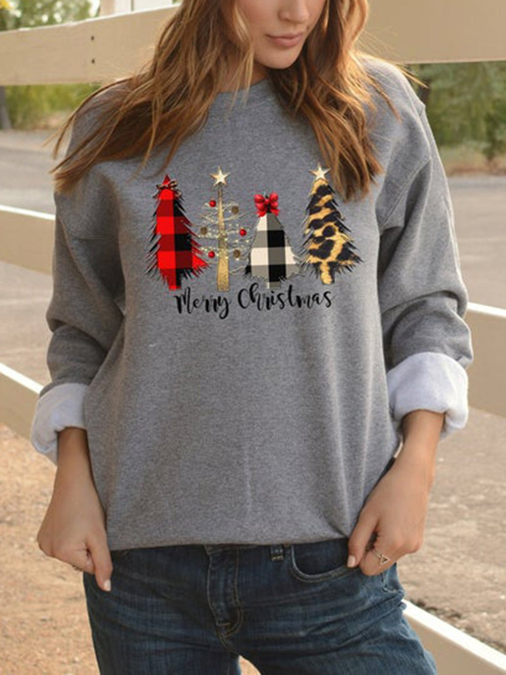 Christmas Casual Long Sleeve Printed Crew Neck Shift Shirts & Tops
