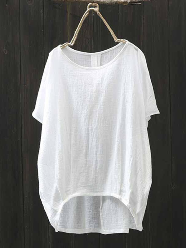Solid Simple Basic Asymmetric Short Sleeve Crew Neck Blouse