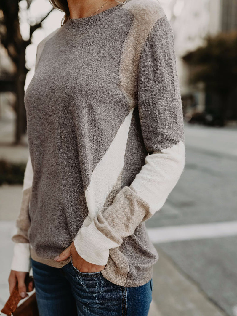 Gray Paneled Knitted Geometric Casual Sweater