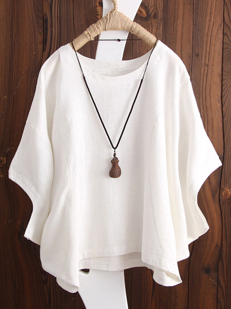 Shift Linen Batwing Casual Cotton Crew Neck T-Shirt