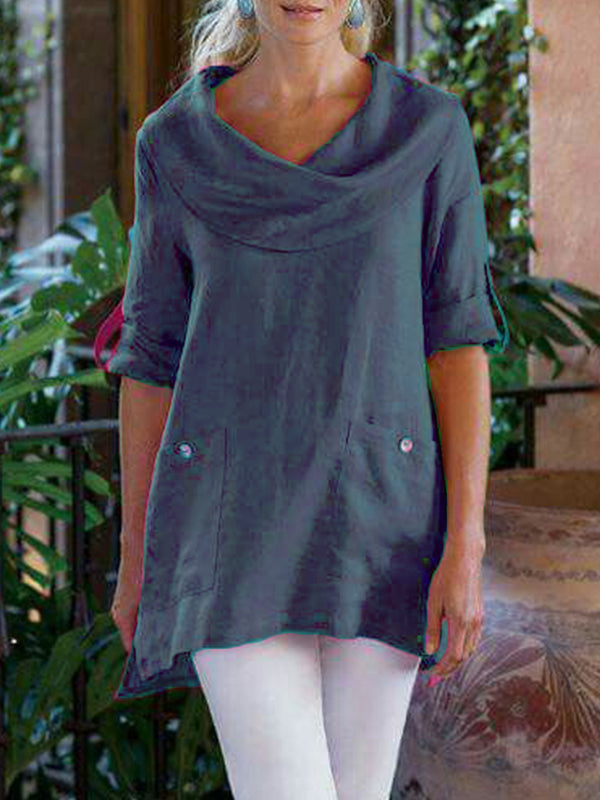 Pockets Long Sleeve Cowl Neck Cotton-Blend Shirt