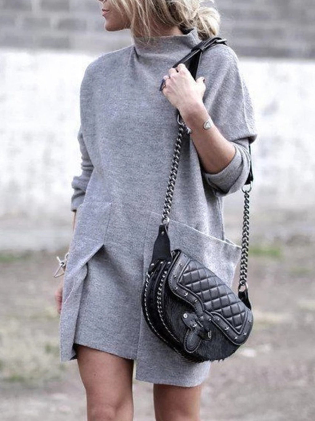 Casual Plus Size Long Sleeve Round Neck Dresses