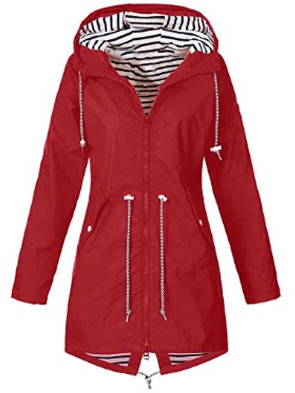 Casual Outdoor Long Sleeve Drawstring Hooded Windproof Trench Coat