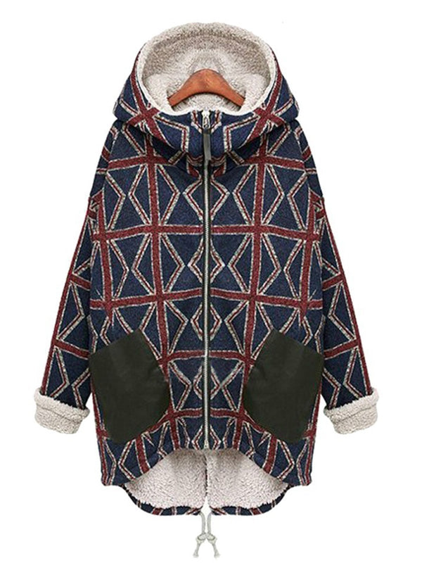 Casual Lining Paneled Warm Plaid Long Sleeve Coat